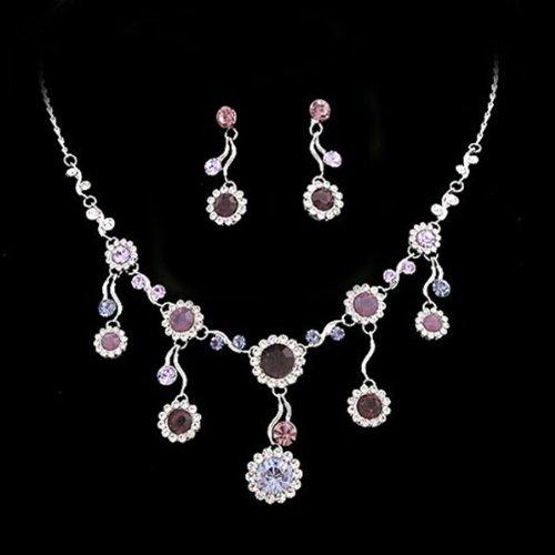 Crystalmood LUX Purple Floral Drops Swarovski Rhinestone Necklace Earrings Set