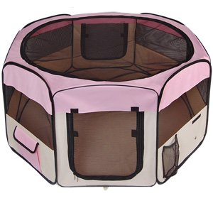 "48""X48""X36"" 2-Door Large Pink Playpen Dog Cage Puppy Crate Soft Exercise Kennel"