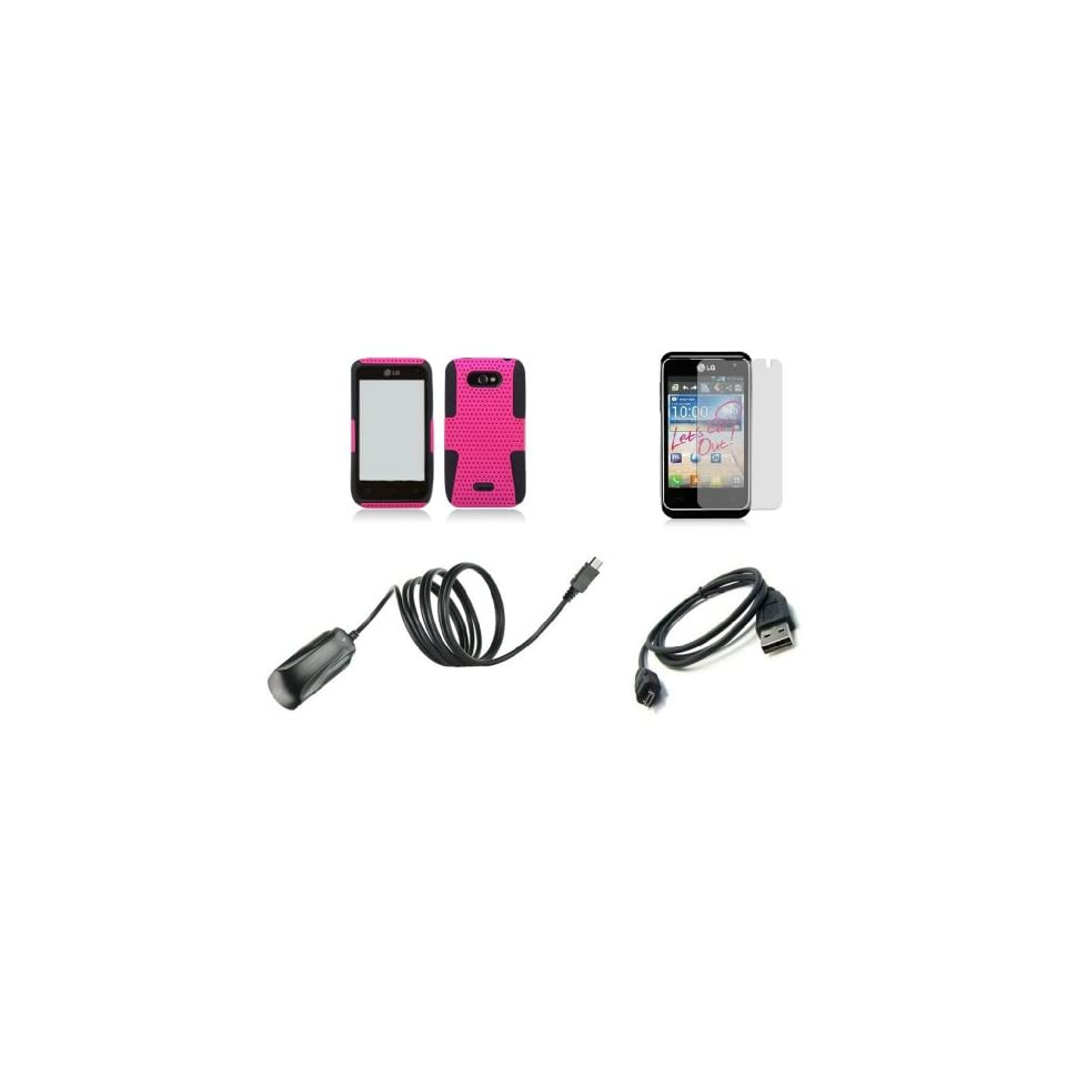 LG Motion 4G MS770 (MetroPCS) Premium Combo Pack   Hot Pink / Black Perforated Mesh Hybrid Armor Case + Atom LED Keychain Light + Screen Protector + Micro USB Cable + Wall Charger