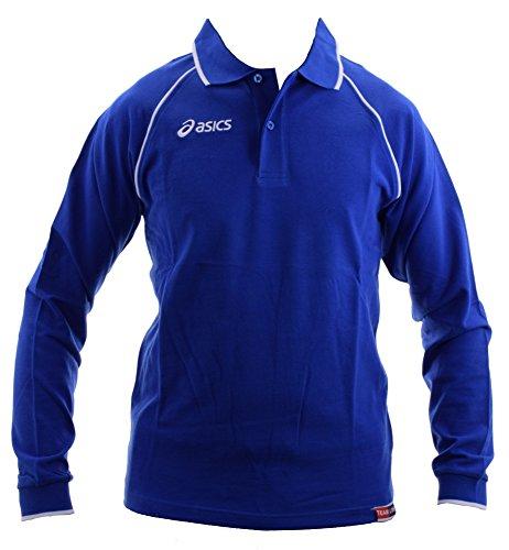 ASICS Polo maniche lunghe unisex 100% cotone piquet KING blu royal T208Z8