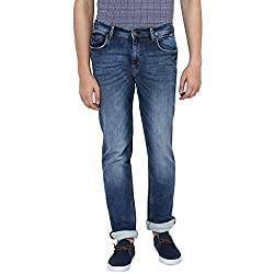 Turtle Men's Blue Low Rise Slim Fit Jeans With Stretch