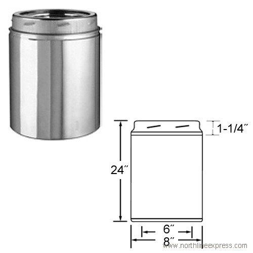 Selkirk Metalbestos 6Ut-24 6-Inch X 24-Inch Stainless Steel Insulated Chimney Pipe