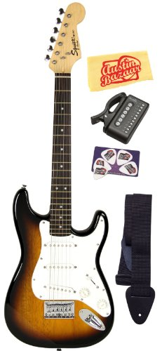 Squier By Fender Limited Edition Mini Strat Electric Guitar Bundle With Strap, Tuner, Picks, And Polishing Cloth - Sunburst