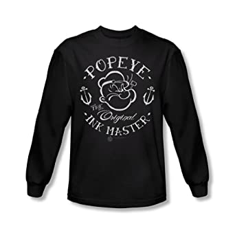 Popeye - Mens Ink Master Long Sleeve Shirt In Black, XX-Large, Black