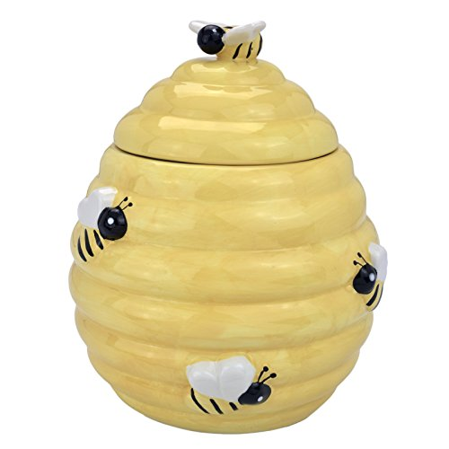 MyGift Decorative Yellow Beehive Design Ceramic Cookie Jar w/ Bee Handle Lid
