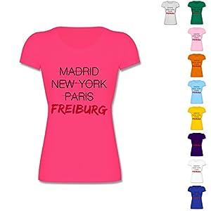 F288N - Leicht tailliertes Damen Frauen T Shirt Lady-Fit Valueweight T mit Rundhalsausschnitt, bewährte Qualität - Städte - Weltstadt Freiburg