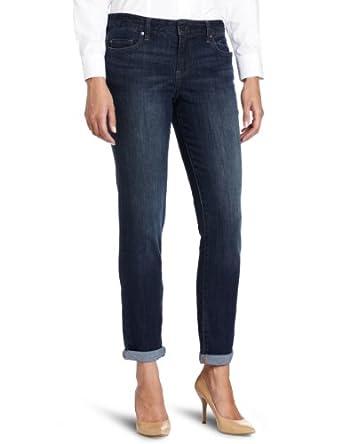 Calvin Klein Jeans Women's Decadent Blue Denim Boyfriend Jean, Dark Wash, 2