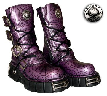 New Rock Boots Style M391 (Black/Purple) - (4 UK)
