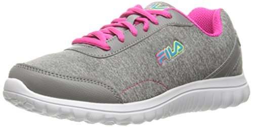 Fila Women's Lite Spring Heather Running Shoe, Monument/Pink Glo/Blue Atoll, 7.5 M US