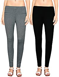 NGT Womens Black And Grey Color Jegging In Special Quality.