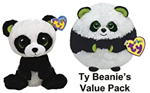 Ty Beanie Ballz and Boo's - Panda Pack - Bamboo & Bonsai