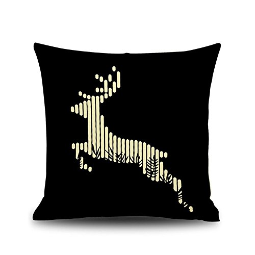 "Monkeysell Decorative Cotton Linen Square Throw Pillow Case Cushion Cover Christmas Snowman Blue Panda Elk Owl Santa Claus Lion black and white Designed 18 ""X 18"" (S139A15)"