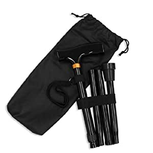 Ez2care Adjustable Folding Cane with Carrying Case, Black