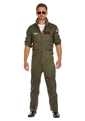 Deluxe Pilot Jumpsuit Topgun Costume with Glasses by shoperama