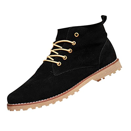 jeansian Moda Casuale Scamosciato Scarpe Inverno Stivali Scarpe da Uomo Boots Black 8.5 US SHB036
