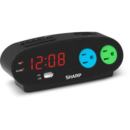 Sharp Alarm with snooze, USB and 2 power Outlets, Black (Sharp Alarm Clock Outlets compare prices)