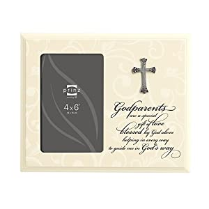 Prinz Godparents a Gift of Love Wooden Photo Frame with Resin Cross 6360-246