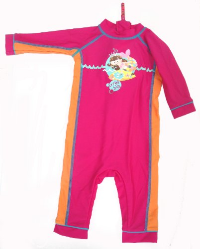 Bright Bots Australian Sun Protection UPF50+ Girls Sunsuit Pink and Orange Long Leg/Sleeve All in One size 3-6 months