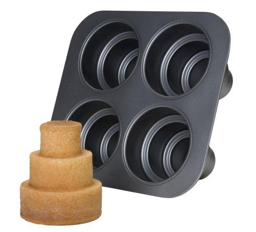 Chicago Metallic Multi Tier Cake Pan 4 Cavity, 10.6 x 9.60 x 4.5 Inch