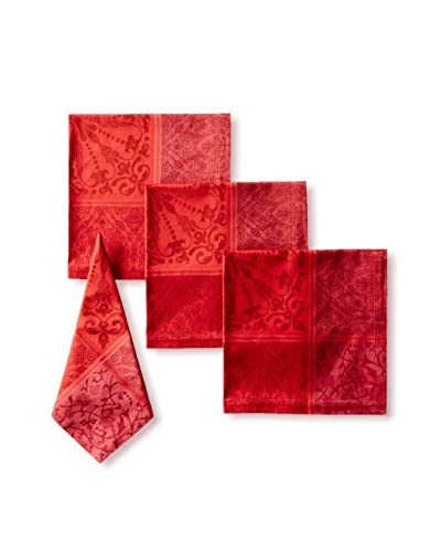 Garnier-Thiebaut Set of 4 Cassandre Grenat Napkins, Red