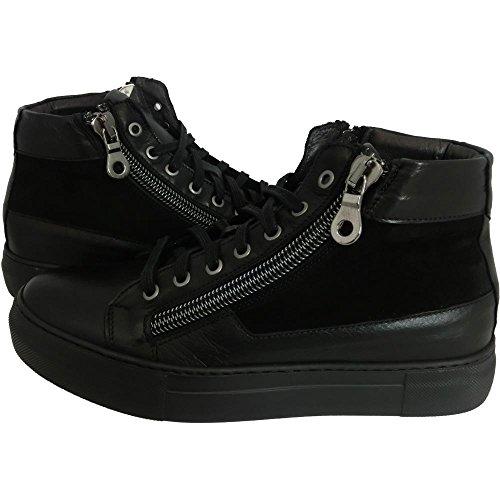 Scarpe uomo Exton 251 0726 - Sneaker havana nero camoscio made in italy (40)