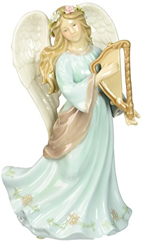 Cosmos 80108 Fine Porcelain Angel with Harp Musical Figurine, 7-7/8-Inch