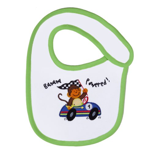 Funkoos Race Car Monkey Organic Cotton Bib for Newborn Baby Infant Boy