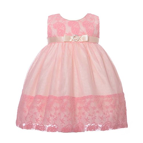 NancyAugust Floral Lace Combination Color Mesh Overlay Fancy Infant Dress