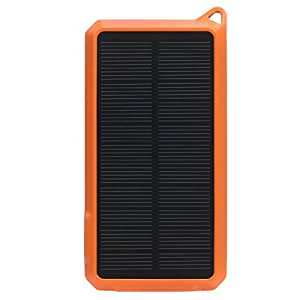 EZOPower High Capacity 10000mAh 2.1A 2-Port Portable Solar External Backup Battery Charger - Black/Orange for iPhone 5s 5c 5 4 4s iPad Mini, Samsung ATIV SE, Galaxy S5, Galaxy S4, Galaxy Note 3 III, HTC One M8, One Max T6 and More USB Powered Devices