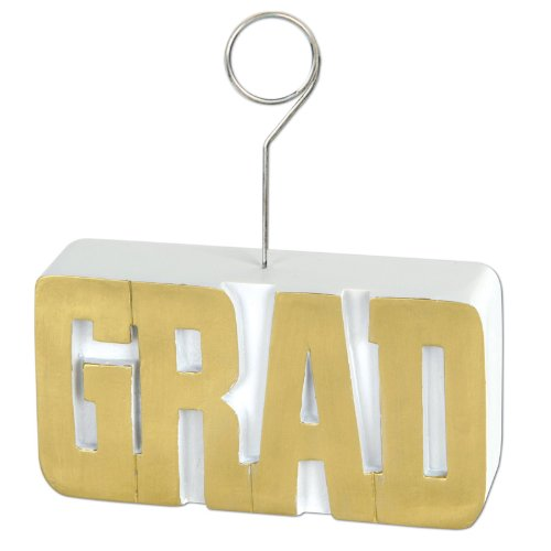 GRAD Photo/Balloon Holder (gold) Party Accessory  (1 count) - 1