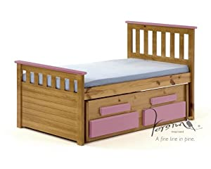 KIDS PINE / PINK CABIN BED WITH UNDERBED & 2 SPRUNG MATTRESSES, SHORTER LENGTH, FROM CENTURION PINE