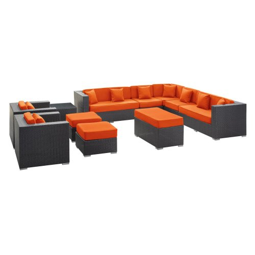 Cohesion All-Weather Wicker Sectional Set in Espresso - Seats 7