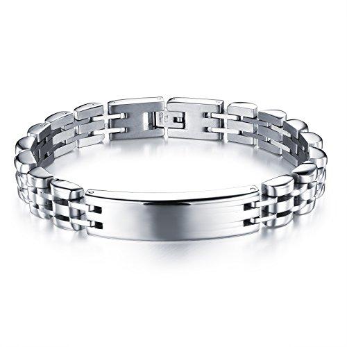 """[M. JVisun]-Elegante Titanio Bracciale in acciaio rimovibile Punk lucido catena, acciaio, 8.26"""""""