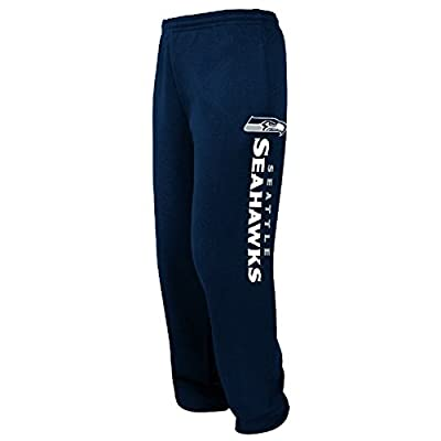 Seattle Seahawks Mens Navy Tipped Pass Open Bottom Sweatpants by Majestic