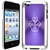 Apple iPod Touch 4 4G 4th Generation Purple B1556 hard back case cover Valentine Heart Cupcake