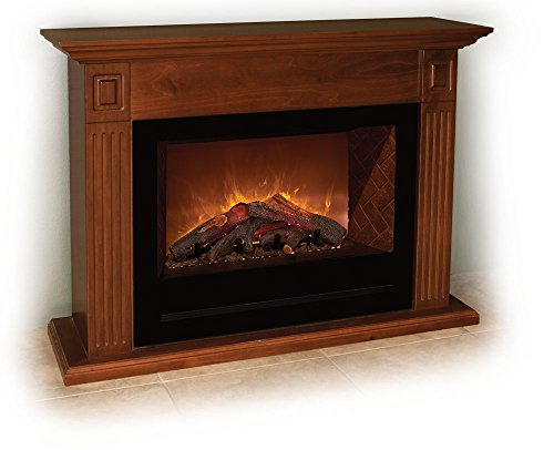Modern Flames Home Fire Series Built-In Electric Fireplace With Log Set, Red Herringbone Side Panels, And Brown Cabinet