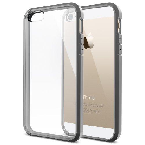 国内正規品 Spigen iPhone 5s / 5 ケース ウルトラ・ハイブリッド クリア バンパー (エアクッションテクノロジー) (日本製 液晶保護 フィルム付) [グレー] SGP10516
