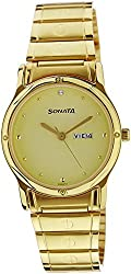 Sonata Classic Analog Gold Dial Mens Watch - NC7023YM09