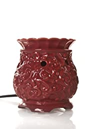 Drake Candles Round with Swirls Ceramic Fragrance Warmer, Berry, 5-1/2-Inch