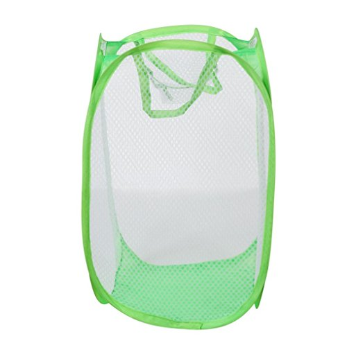 Morecome Foldable Pop Up Washing Laundry Basket Bag Hamper Mesh Storage Pueple (Green) (Colorful Laundry Baskets compare prices)
