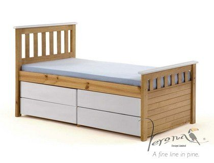 KIDS SHORTER VERSION 3FT CAPTAINS BED WITH MATTRESS AND 4 DRAWERS IN PINE / WHITE FROM CENTURION PINE