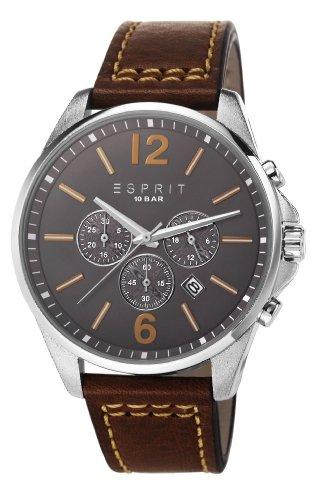 Esprit  ES106921003 - Reloj de cuarzo para hombre, con correa de cuero, color marrón