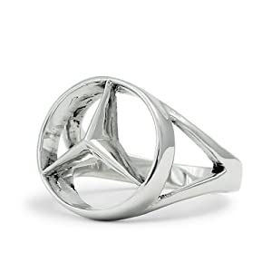 Silver mercedes benz ring concave hexagon on popscreen for Mercedes benz pendant