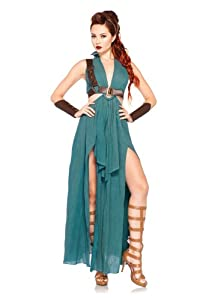 Leg Avenue Costumes 4Pc.Warrior Maiden Dress Arm Cuffs Shoulder Harness Headpiece, Green, Small