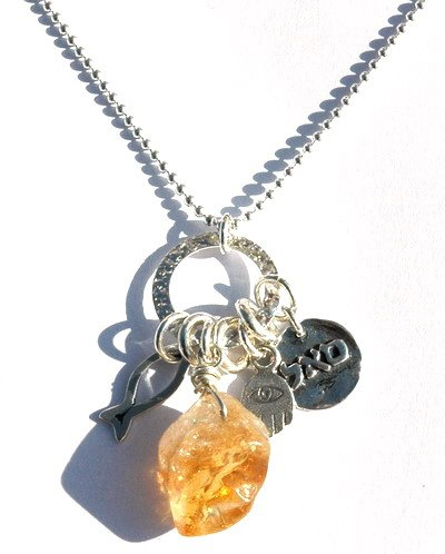 Prosperity Natural Citrine Necklace with Hamsa Hand for Luck