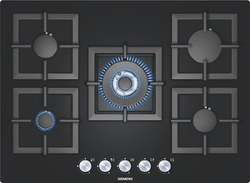 SIEMENS EP716QB21E Cooktop 5 Cooking Area , Black Glass Ceramic Surface Type of Gas ( LPG or Natural ) 220V is Required for Ignition (Siemens Induction compare prices)
