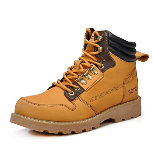 Sunrolan Men's Leather Boots Lace-up Metal Eyelets Durable Work Boot Xr3161