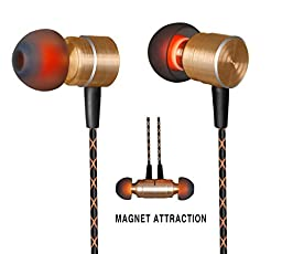 Earphones,Magnet Attraction In-Ear Earbuds Heaphones headset with Mic Microphone Stereo Bass with 3.5mm Jack (Golden)