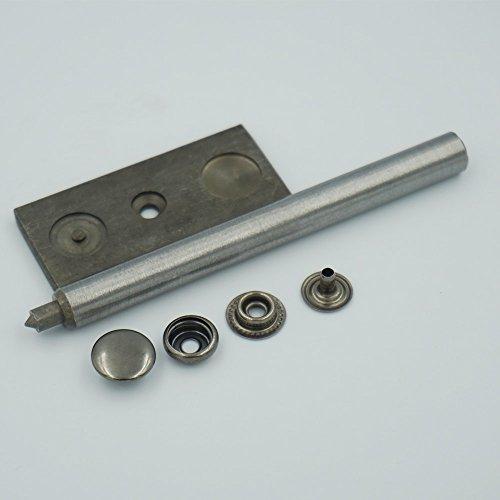 "Bluemoona Metal Snap Fastener Leather Rapid Rivet Button Setting Tool 12mm 1/2"" Sewing Sewn Buckle 100 Sets (Gun Black)"