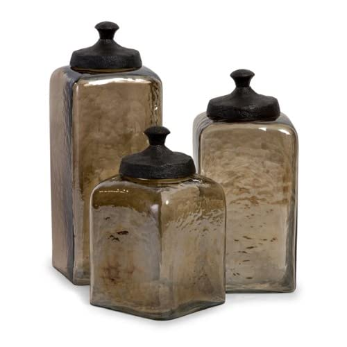 Kitchen Decorative Canisters Set Of 3 Decorative Tinted Square Kitchen